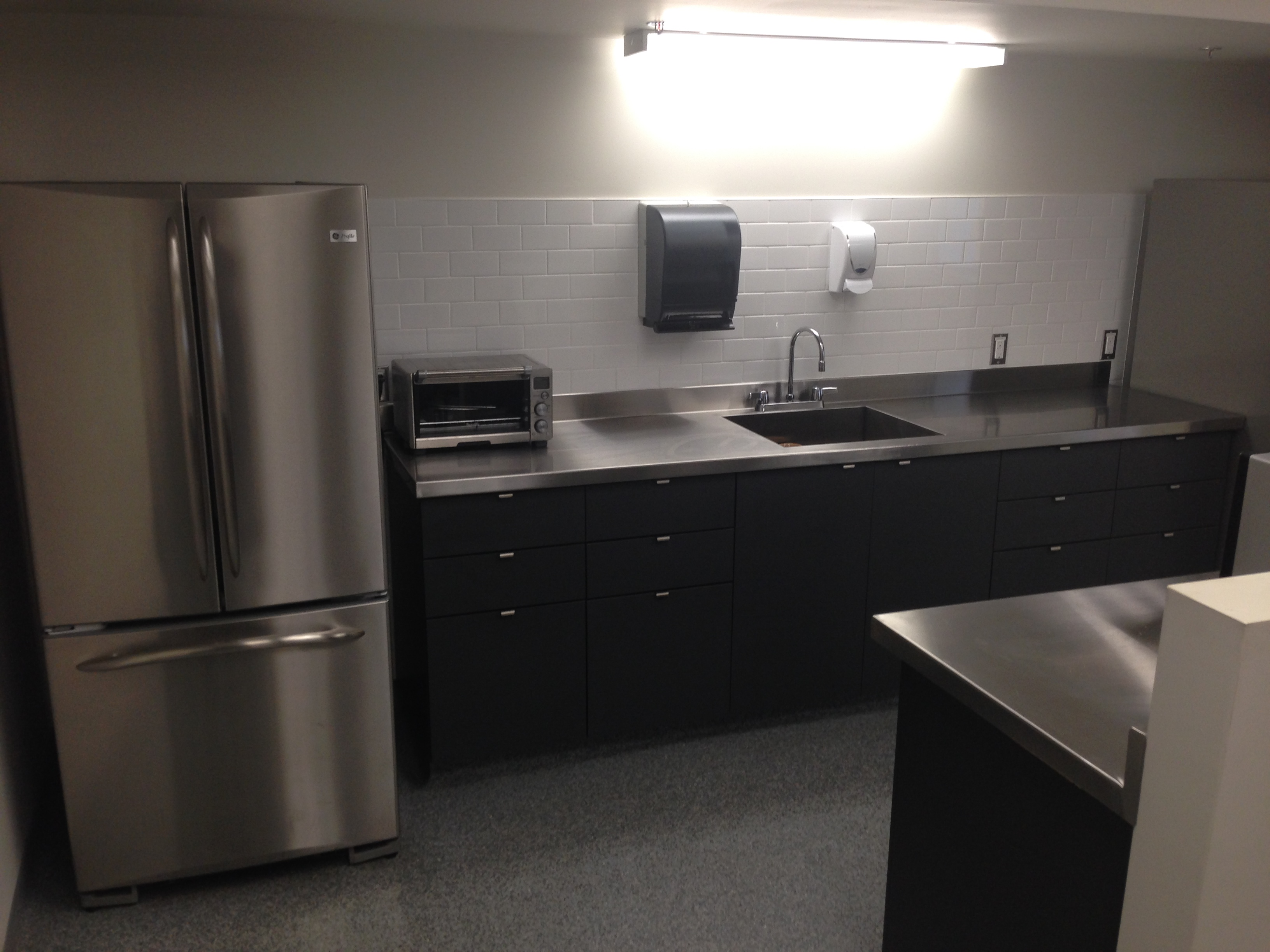 Colonial Honda Staff Kitchen Grey Laminate With Stainless Steel Tops