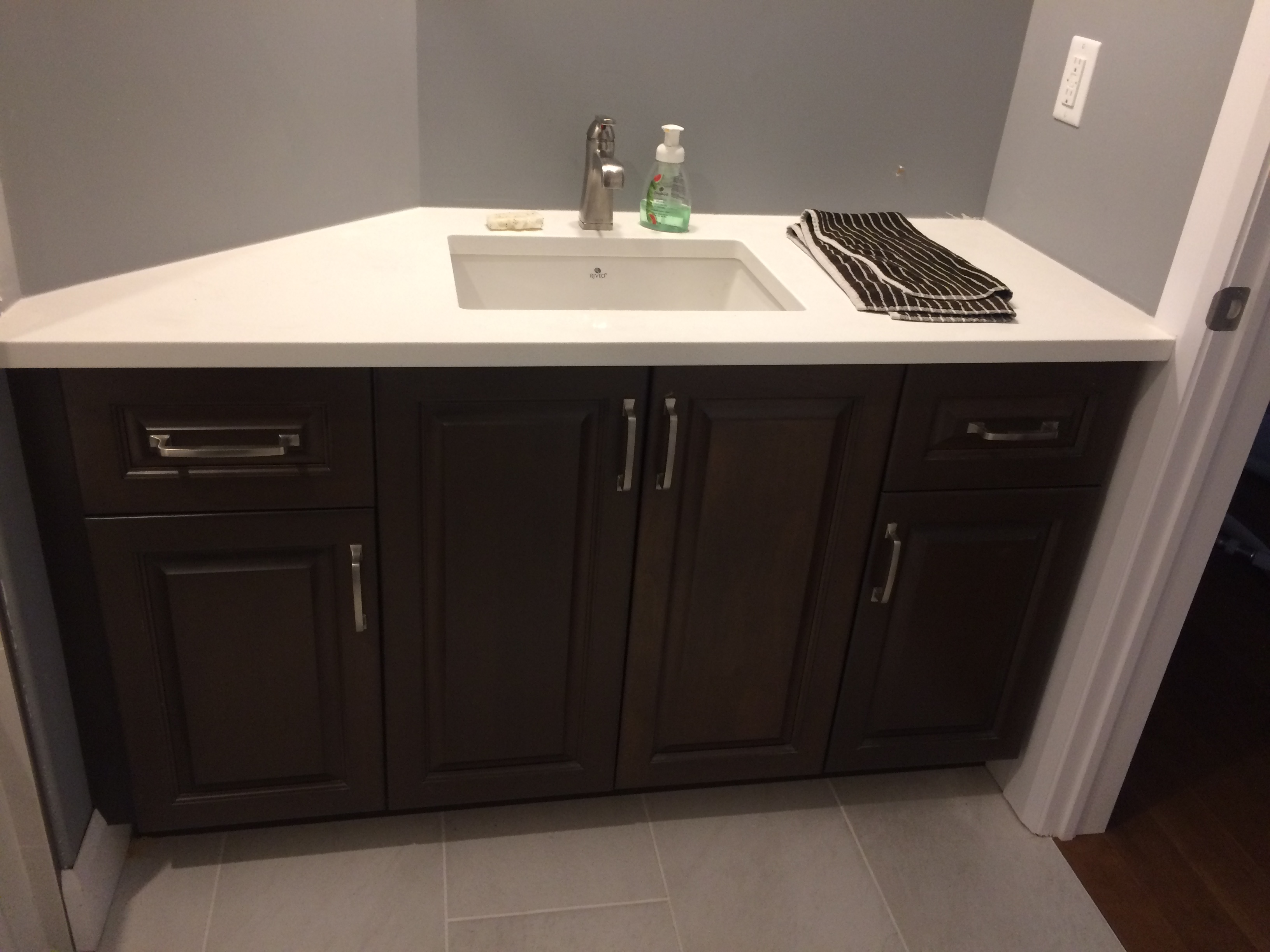 Custom Maple Vanity with Angle on the left